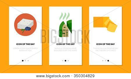 Cheese Variety Flat Icon Set. Roquefort, Feta, Cheddar Blocks And Slices Isolated Sign Pack. Food, I