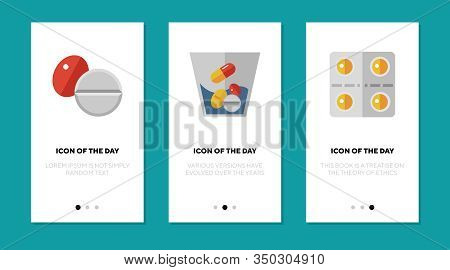 Drugs Flat Icon Set. Capsule, Tablet, Pills Isolated Sign Pack. Meds, Remedy, Treatment, Cure, Pharm