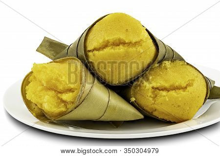 Toddy Palm Cake Or Kanom Tarn, The Local Thai Dessert In Ceramic Plate On White Background With Clip
