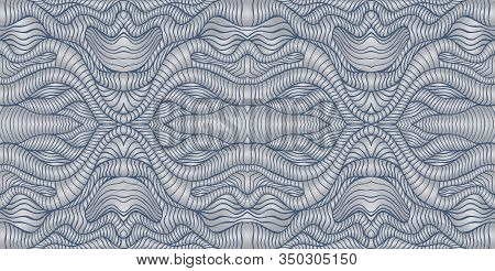Vintage Intricate Cyber Style Abstract Wave Ornament, Silver Gray Metallic Gradient, Ash Blue Outlin