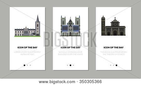 Gothic Church Sights Thin Flat Icon Set. Belief, Attraction, Tradition Isolated Vector Sign Pack. Re