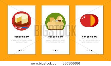 Cheese Blocks Flat Icon Set. Camembert, Parmesan, Gouda Slice Isolated Sign Pack. Food, Ingredient,
