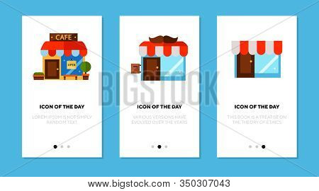 Small Cafe Flat Icon Set. Diner, Shop, Restaurant Isolated Sign Pack. Eating Out Concept. Vector Ill