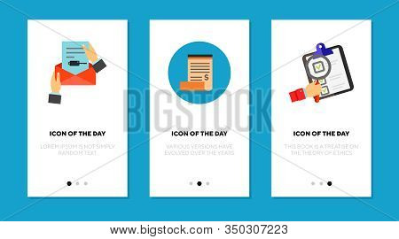 Document And Listing Thin Flat Icon Set. Paper, Bill, List Isolated Vector Sign Pack. Documentation