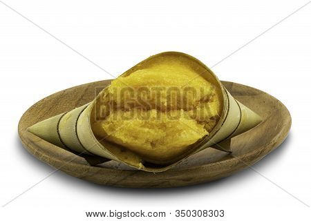 Local Thai Style Dessert Toddy Palm Cake In A Wooden Plate On White Background With Clipping Path