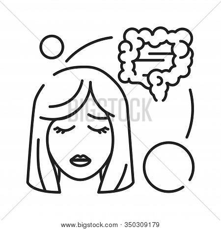 Early Pregnancy Symptoms: Diarrhea, Pain, Abdominal Distension Line Black Icon. Pregnant Blond Woman