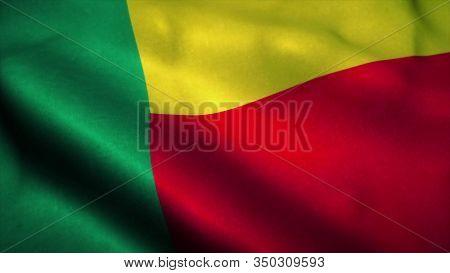 Benin Flag Waving In The Wind. National Flag Of Benin. Sign Of Benin. 3d Illustration.