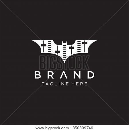 Equalizer Bat Logo Design . Music Bat Logo Design Element . Bat Sound Logo , Sound Icon Stock Vector