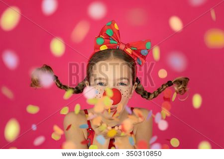 Funny Girl Clown Playing Indoor