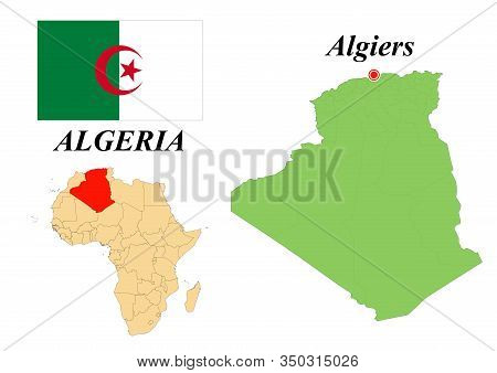 Peoples Democratic Republic Of Algeria. The Capital Is Algeria. Flag Of Algeria. Map Of The Continen