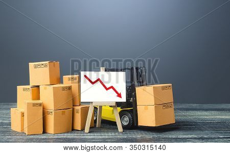 Forklift Near Boxes And Easel With Red Arrow Down. Decline Trade And Production Rates, Decreased Sal