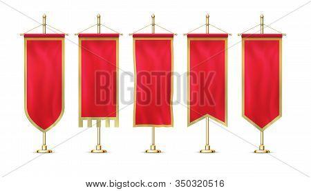 Blank Red Pennant Flag Mockup Banner Hanging On Golden Rack Pole Realistic Stylish Retro Style Set.