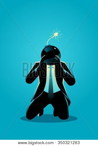 Business Concept Illustration Of A Kneel Down Businessman With Bomb Head Ready To Explode