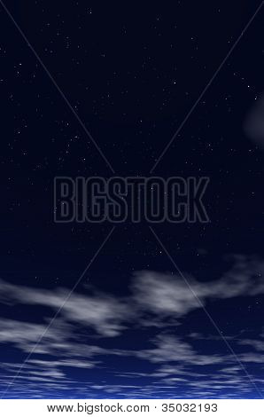 clouds in the night starry sky