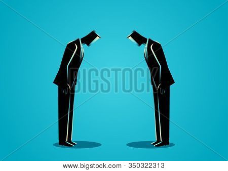 Business Concept Illustration Of A Two Businessmen Bowing To Each Other, Japanese Business Etiquette