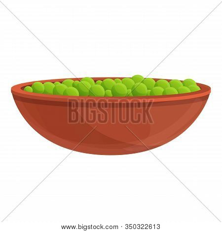Peas Bowl Icon. Cartoon Of Peas Bowl Vector Icon For Web Design Isolated On White Background