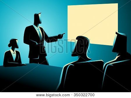 Business Concept Illustration Of Business People Having A Meeting Using Projector