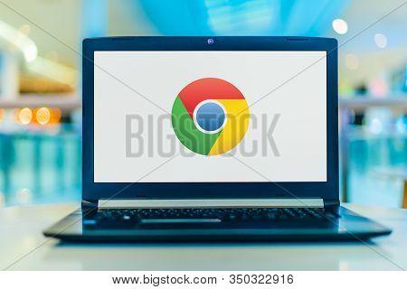 Poznan, Pol - Jan 30, 2020: Laptop Computer Displaying Logo Of Google Chrome, A Cross-platform Web B