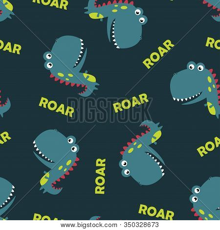 Funny Cartoon Cute Kids Monster Dinosaur With Lettering Hello Dude Isolated On Blue Background, Seam