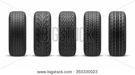 Car Tires With Different Tread Patterns, Vector Realistic 3d Mockup Isolated Objects. Front Side Vie