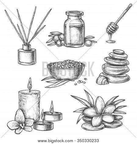 Thai Spa Sketch Vector Icons, Massage And Body Care Wellness Bathing. Hand Drawn Pencil Sketch Orien