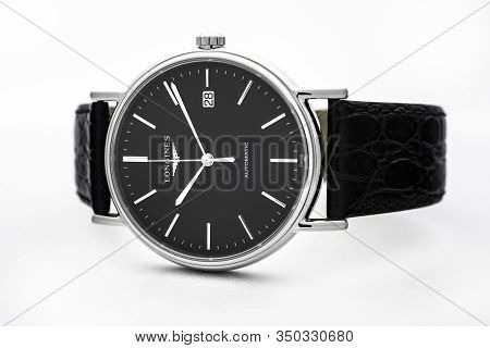 Saint-imier, Switzerland, 2.02.2020 - Longines Luxury Watch Automatic Chronograph With Black Watch F