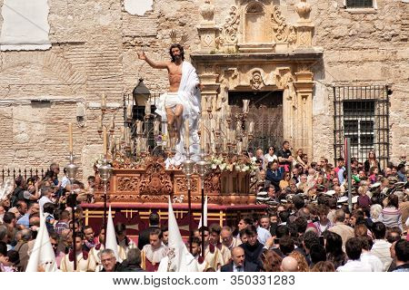 Holy Week In Spain, Procession Of The Brotherhood Of The Holy Resurrection Of Our Lord Jesus Christ.
