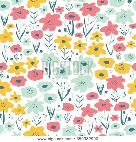 Spring Flower Meadow Seamless Vector Pattern. Blue Pink Yellow White Floral Background. Repeating Di