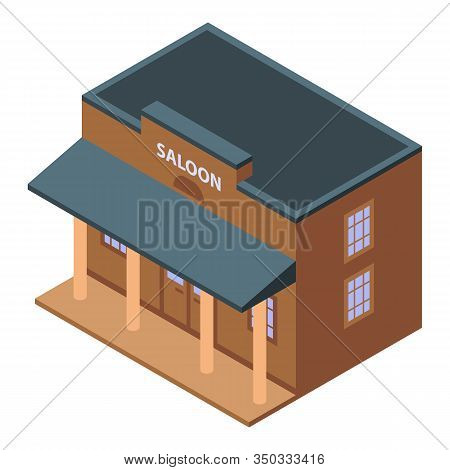 Saloon Building Icon. Isometric Of Saloon Building Vector Icon For Web Design Isolated On White Back