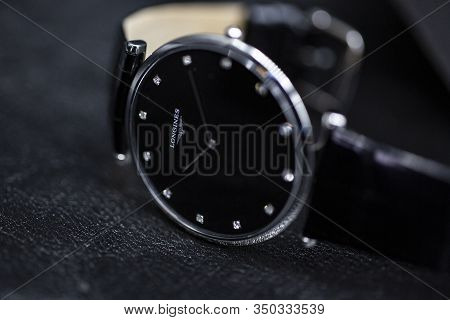 Saint-imier, Switzerland, 2.02.2020 - Longines Black Steel Body With A Leather Strap Watch Close-up
