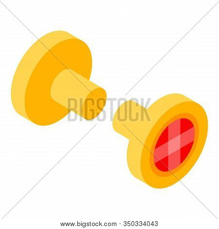 Gold Earring Icon. Isometric Of Gold Earring Vector Icon For Web Design Isolated On White Background