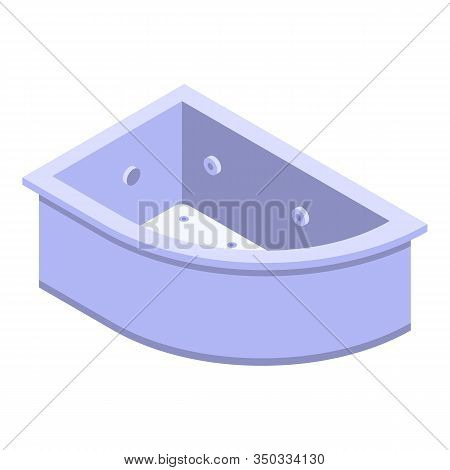 Corner Bathtub Icon. Isometric Of Corner Bathtub Vector Icon For Web Design Isolated On White Backgr