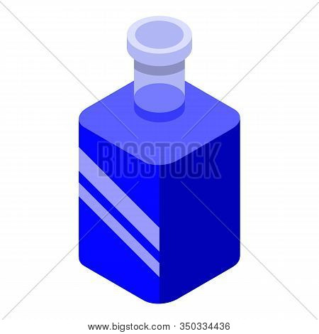 Blue Bottle Potion Icon. Isometric Of Blue Bottle Potion Vector Icon For Web Design Isolated On Whit