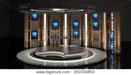 Virtual Tv Studio Chat Set 2. 3d Rendering. Virtual Set Studio For Chroma Footage. Wherever You Want