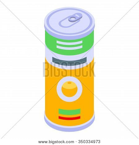 Fruit Tin Can Icon. Isometric Of Fruit Tin Can Vector Icon For Web Design Isolated On White Backgrou