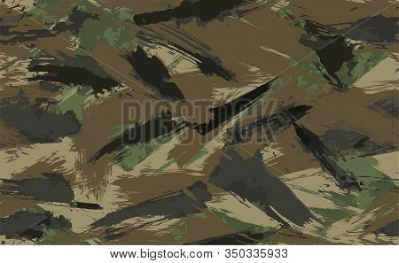 Seamless Brush Stroke Camouflage Print. Vector Pattern Green Brown Black Olive Colors Forest Texture
