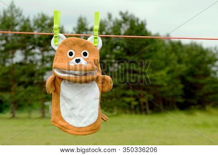 Bear Sponge On The Rope. Sponge Toy For A Child Close-up. Reusable Fabric And Skincare Or Skin Clean