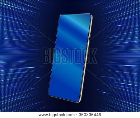 Smartphone Mockup Hanging In The Air On A Futuristic Background. 3d Realistic Cellphone In Perspecti