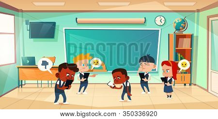 Cyber Bullying In School, Conflict And Violence Situation With Sad Black Boy In Classroom Among Laug