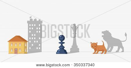 Hidden Potential Vector Concept. Pawn Dropping Shadow Of Queen, Cat Become Lion And Small House Beco