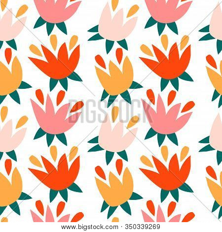 Trendy Seamless Pattern With Graphic Abstract Geometric Shapes - Plant Leaves.  Avant-garde Puzzle S