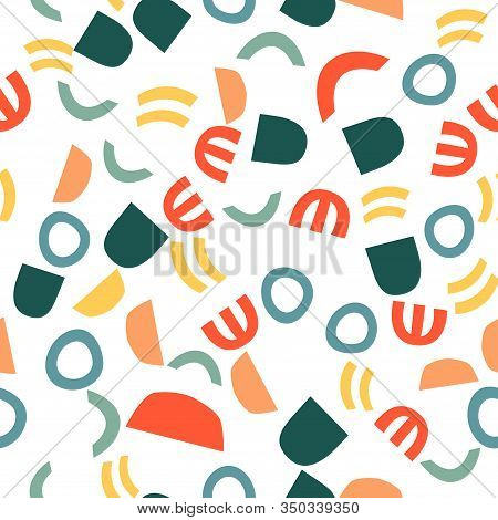 Trendy Seamless Pattern With Graphic Abstract Geometric Shapes.  Avant-garde Puzzle Style. Geometric