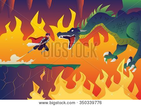 Cartoon Illustration Depicting Battle Between A Hero Or A Knight And A Fierce Dragon.
