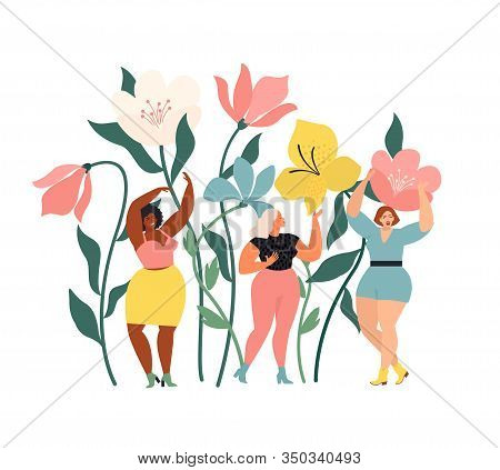 Women Diverse Of Different Ethnicity Are Wonder The Huge Spring Wild Flowers. Spring Vibes Mood. Int