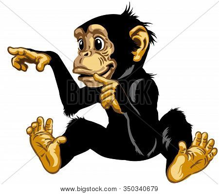 Cartoon Chimp Great Ape Or Chimpanzee Monkey Touching Or Pointing To Something With Finger.  Positiv