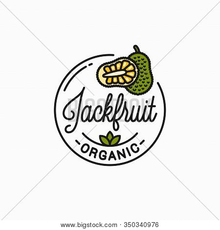 Jackfruit Fruit Logo. Round Linear Of Jackfruit