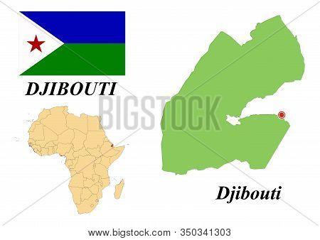 Republic Of Djibouti. Capital Of Djibouti. Flag Of The Republic Of Djibouti. Map Of The Continent Of