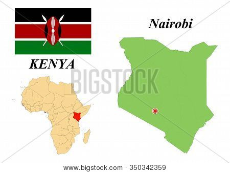 Republic Of Kenya. Capital Of Nairobi. Flag Of Kenya. Map Of The Continent Of Africa With Country Bo