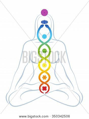 Meditating Yoga Woman With Colored Chakras And Rainbow Gradient Kundalini Serpent, Symbolic For Spir