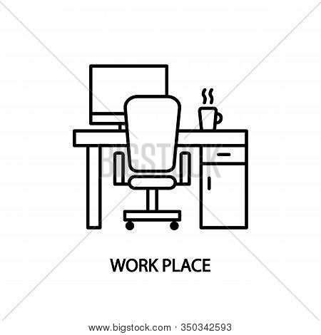 Work Place Line Icon. Desk With Computer And A Cup Of Coffee. Concept For Web Banners And Printed Ma
